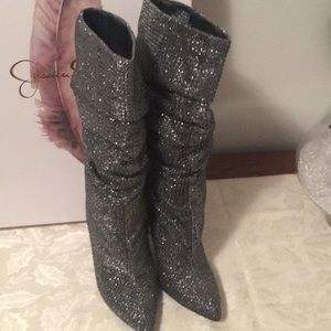 Jessica Simpson Grey Crystal Boots